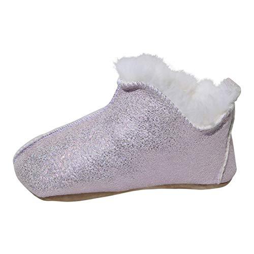 Kinder Lammfell Hausschuhe Bali Glitzer Fellschuhe für Mädchen mit weicher Sohle warme Schuhe Echtleder kuschelig weich Schuhgröße 29, Farbe Rosa