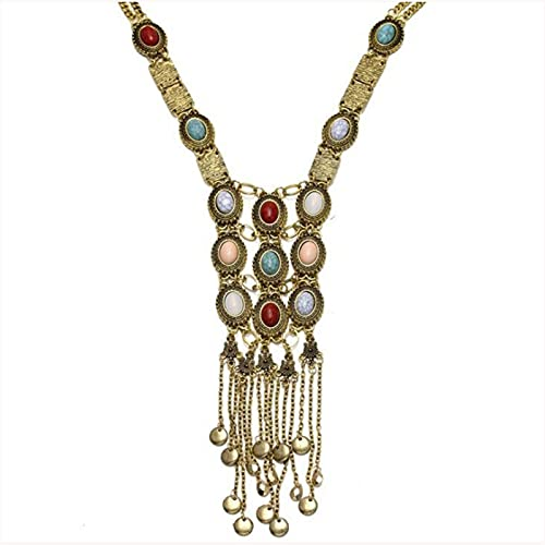 Mujeres Chic Maxi Collares Vintage Tassel Largo Colgante Collares Collares Colgantes Joyería (Metal Color : Antique Gold Plated)
