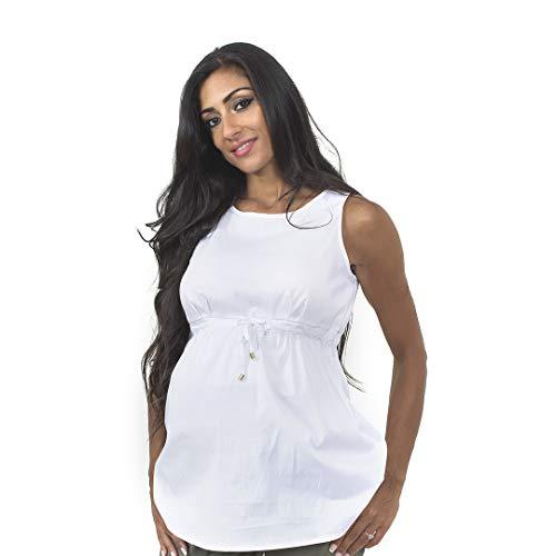 Flay Maternity Maglia Camicia Premaman Gravidanza Giromanica in Cotone Colore Bianco Taglia L