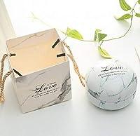 Yan ロマンチックなバレンタインデーのキャンディボックスフラットラウンドキャンディボックスジュエリーギフトボックス鳥トートホームガーデンお祝いパーティー用品、カラー:ホワイト(大理石)+トートバッグ