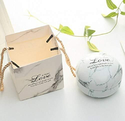 Artículos de vacaciones MMGZ romántico día de San Valentín la caja del caramelo redondo plano de caramelo caja de joyería de regalo Suministros Parte festiva Bird Box asas Home Garden, Color: Blanco (