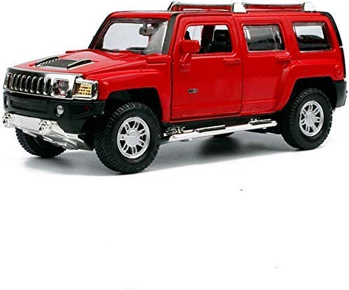 1:32 Hummer H3 Vehículo Todoterreno Aleación Modelo de Coche Sonido y luz Modelo de Coche Simulación Tirar hacia atrás Coche de Juguete para niños (Color: Rojo) Regalo de niño/niña