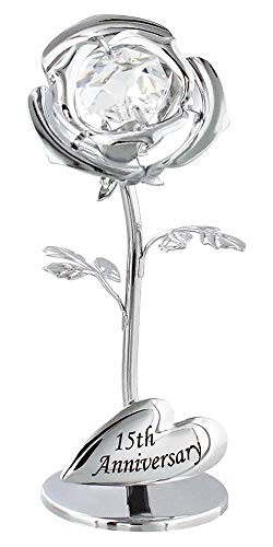 Haysoms Modern 15th Anniversary Silver Plated Flower with Clear Swarovski...