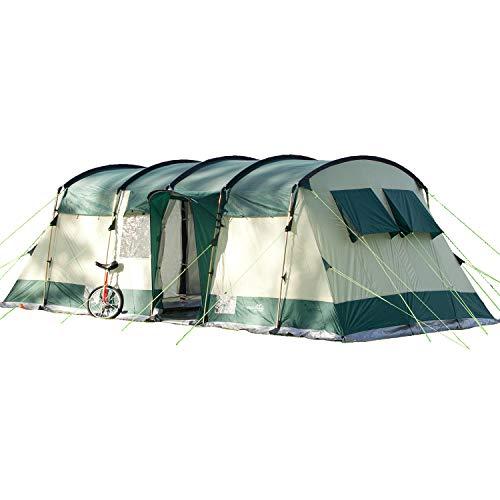 Skandika Hurricane 8 -Tente de camping tunnel familiale - 8 personnes - 650 x 310 cm (Vert)