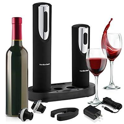 Hamiltan Beach - Electric Corkscrew Wine Opener Set - Includes Wine Preserver - Bottle Stopper - Foil Cutter