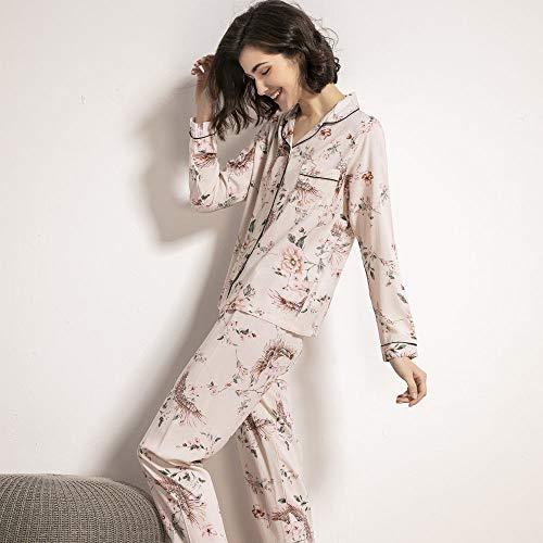YUHOOE Pyjama Schlafanzug Damen Lang,Sternenhimmel Und Blumen Bedruckte Nachtwäsche Damen Pyjama Set Langarm Komfort Baumwolle Satin Homewear Damen Loungewear Für Den Herbst,Pink Flower,S.