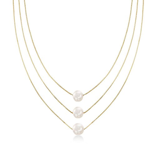 Ross-Simons 9-9.5mm Cultured Pearl 3-Strand Layered Necklace in 18kt Gold Over Sterling. 18 inches (Cultured Strand)