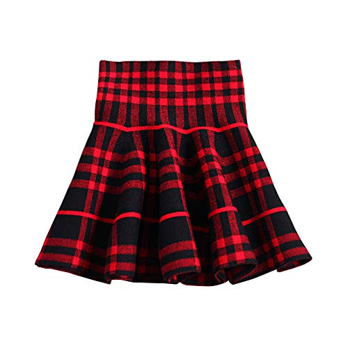 Mesinsefra Toddler High Waist Plaid Knitted Tutu Skirt for Autumn Wine Red Tag 130cm-51(5-6Y)