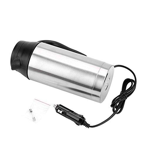 Filfeel Hervidor de agua-Taza de Ebullicion de Acero Inoxidable 24V 750ml (8,66 Pulgadas de Alto) para Vehiculos Automoviles