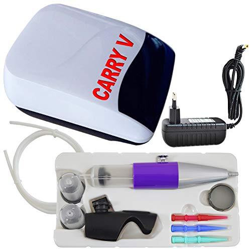 AirBrush Set Carry V-TC - Airbrush Kompressor mit Sensor-Touch-Control-Technologie/mit Torten-Deco-Airbrush Set für Creme-Spritze Krapfenstritze (Set Carry V-TC perlweiß)