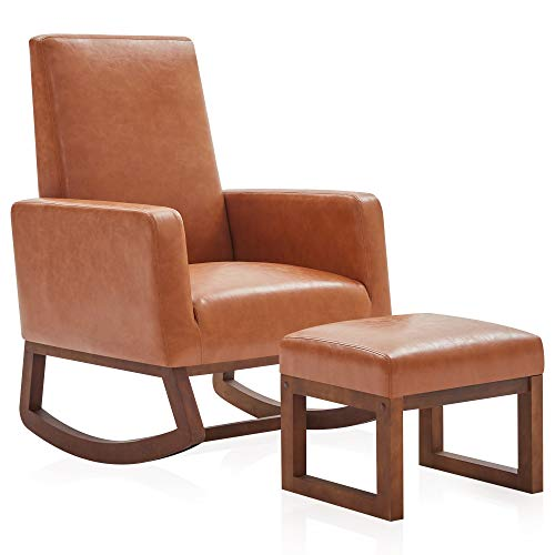 BELLEZE Modern Rocking Chair Upholstered Faux Leather High...
