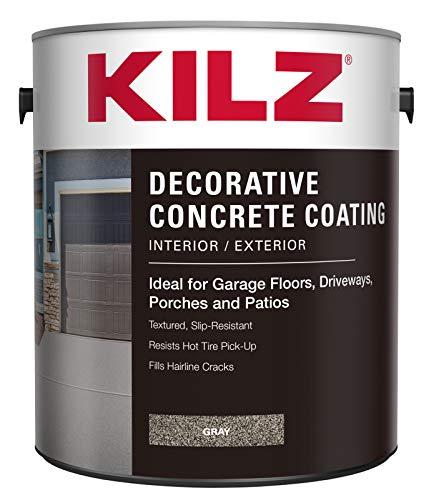 KILZ L378701 Interior/Exterior Slip-Resistant Decorative Concrete Paint, 1 Gallon, Gray, 128 Fl Oz