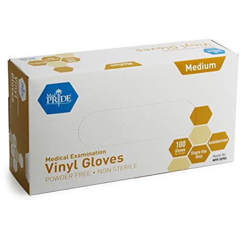 Med PRIDE Medical Vinyl Examination Gloves (Medium, 100-Count) Latex...