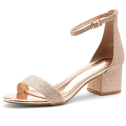 Herstyle Sunday Women's Open Toe Ankle Strap Block Chunky Low Heeled Sandal Comfortable Office Pump Shoes R.GoldSM 8.5
