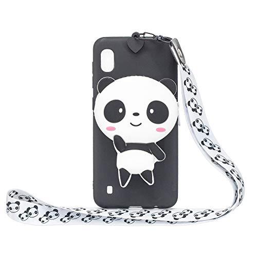 Miagon Silikon Hülle für Samsung Galaxy A01,3D Süß Brieftasche Lager Tasche Design mit Halskette Kordel Schnur Handykette Necklace Band,Panda