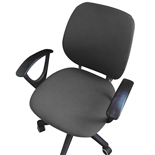ZUQ Funda elástica para silla de oficina, funda protectora universal para silla de ordenador, giratoria y elevadora, funda de asiento y respaldo independientes, monocolor gris oscuro