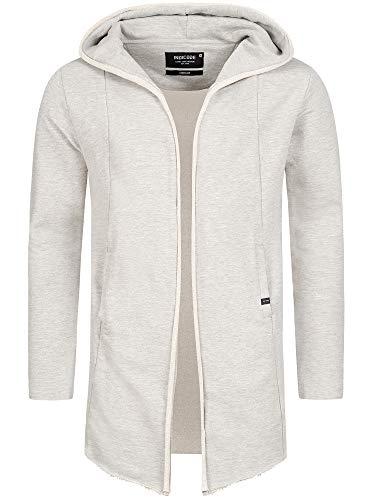 Indicode Herren Brekstad Oversize Sweatjacke mit Kapuze aus 100% Baumwolle | moderner Sweat-Cardigan Long Cardigan Herrenjacke Baumwolljacke Strickjacke Sweater Jacke für Männer Lt Grey Mix XL