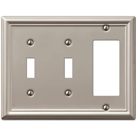 Satin Nickel Double Decora GFCI Rocker Switch Wall Plate Cover 65088-SN