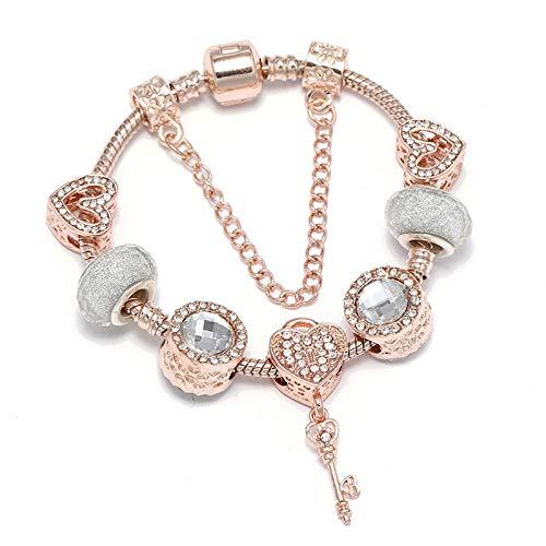 Crystal Rose Gold Love Key Charms Colgantes Fit Estilo Europeo Pulsera Joyería Regalo Para Mujeres C01 17cm