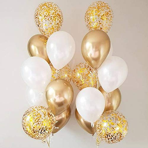 Metallic White and Gold Balloon Gold Confetti Balloons 12 inch - balloons with confetti inside Pack of 50 Party Kit for Golden Baby Shower Bachelor Party Birthday Engagement Wedding Balloon 20th 30th 40th 50th anniversary balloons Party Decor Bridal Shower Decorations