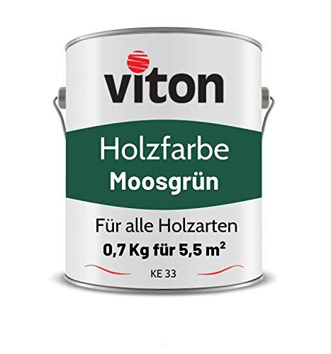 VITON Holzfarbe - 0,7 Kg Grün Holzlack Glänzend - Wetterschutzfarbe für Innen und Außen - 2in1 Grundierung & Deckfarbe - Profi-Holzschutzlack - KE31 - RAL 6005 Moosgrün