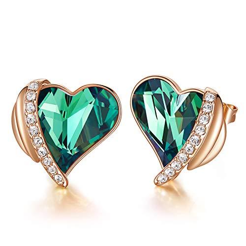 CDE Orecchini da Donna Cuore Cristalli con Scatolina per Gioielli (Verde)