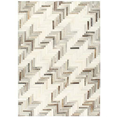 vidaXL Teppich Echtes Kuhfell Patchwork Handgefertigt Lederteppich Fellteppich Wohnzimmerteppich Schlafzimmer Büro 80x150cm Grau Weiß