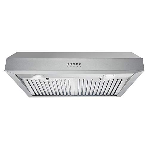 Cosmo UC30 30 in. Under Cabinet Range Hood Ductless Convertible Duct  Kitchen Over Stove Vent  3-Speed Fan  Permanent Filters  LED Lights in Stainless Steel