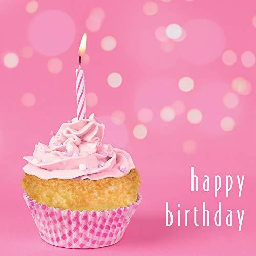Gelukkige Verjaardag Vrouwelijke Groeten Kaart, een Fotografische Kaart met een Roze Cupcake Afbeelding en een Kaars. Bericht binnen leest gelukkige verjaardag.