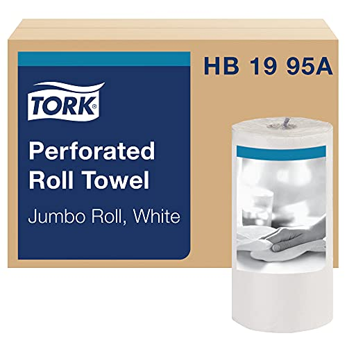 Tork HB1995A Jumbo Roll Perforated Paper Towel, Jumbo Roll, White, Universal, 2-Ply, Case of 12 Rolls, 210 per Roll, 2,520 Towels