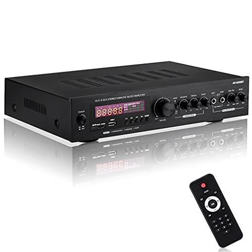 NIZYH 2000w 220v 110v Bluetooth5.0 Amplificador de Potencia de Audio Amplificador de Cine en casa Audio con Control Remoto Soporte FM USB (Color : A)