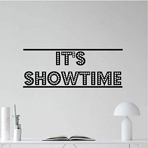 Etiqueta De La Pared Es Hora Del Espectáculo Calcomanía De Pared Cine Cine En Casa Película Vinilo Pegatinas Decoración Cotizaciones Impermeables Murales Extraíbles Papel Pintado De La Marca 57X22Cm
