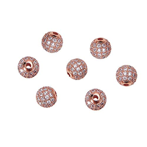 Perlas redondas de latón con circonita cúbica de 8 mm para hacer joyas de bricolaje de oro, 10 unidades