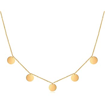 Good.Designs Coin Kette mit 5 Plättchen für Frauen I Fünf Coins Damen Halskette