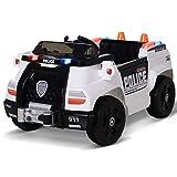 HOMCOM Kinderauto Kinderfahrzeug Elektroauto Polizeiauto mit Fernbedienung MP3 3–6 Jahre PP 106,5...