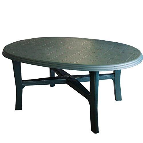 Tavolo da giardino plastica 165x 110cm, ovale, colore: verde–Pulire/tavolino da tavolo da campeggio, per il giardino terrazza tavolo mobili plastica Camping