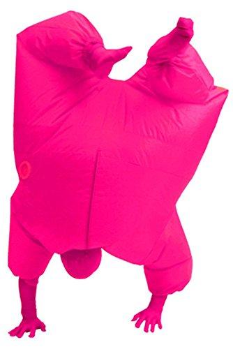 Fuman Aufblasbares Fett Dick Kleid Fasching Zweite Haut Anzug Karneval Luftschiff Kostüm Pink