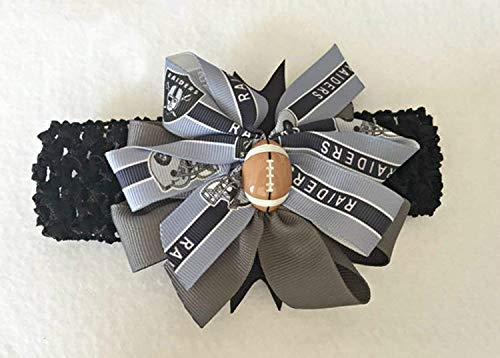 Raiders Baby Girl Boutique Bow Crocheted Headband Fits Newborn to Adult
