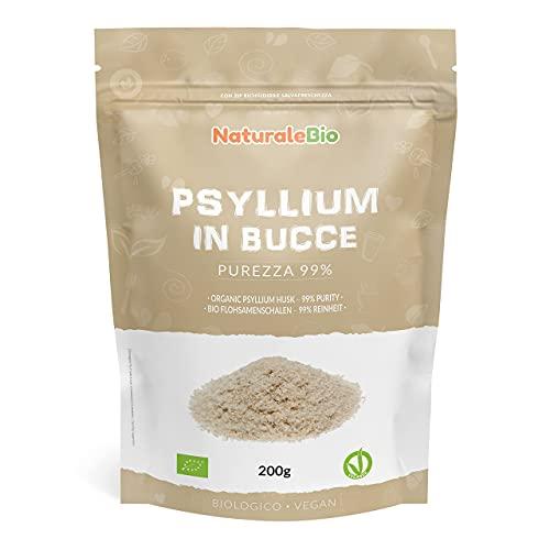Tégument de Psyllium Blond BIO - Pureté 99% - de 200g. Psyllium Husk Biologique, Naturel et Pur. 100% Cosses de Graines de Psyllium Indien. Riche en fibres, à consommer dans l'eau, boissons ou jus.