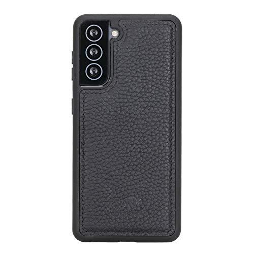 Solo Pelle Lederhülle für das Samsung Galaxy S21 5G in 6.2 Zoll Hülle aus echtem Leder, Model: Stanford (Matt Schwarz)