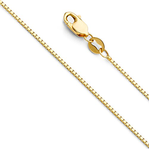 14k REAL Yellow Gold Solid 0.9mm Box Link Chain Necklace with Lobster Claw Clasp - 16'