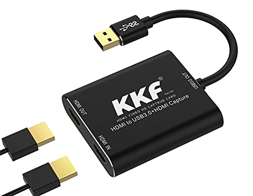 KKF HDMI Video Capture Card 4K, USB3.0 1080P 60FPS HD Ultra-Low Latency, Game Capture Device Work with PS5 PS4 Xbox Nintendo Switch DSLR for Twitch YouTube Live Streaming and Recording
