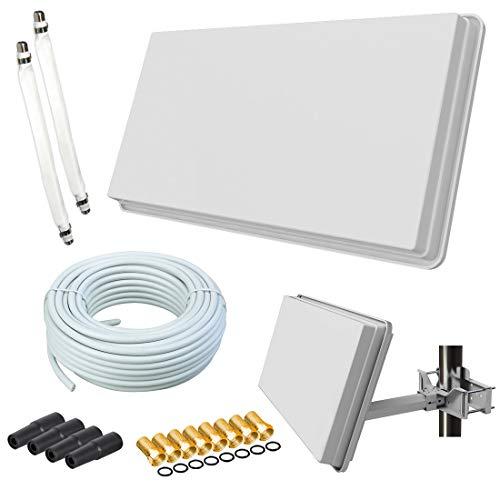 netshop 25 Set: Selfsat H30D2+ Flachantenne Twin + 20m Kabel + Fensterhalterung + 2 Fensterdurchführung + 8 F-Stecker + 4 Wetterschutztüllen (Full HD 4K UHD Sat Anlage für 2 Teilnehmer)