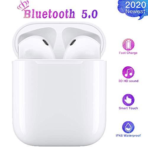 Auricolari wireless Bluetooth 5.0 con microfono e scatola di ricarica per ridurre il rumore, compatibili con iPhone Airpods/cuffie Samsung/Huawei