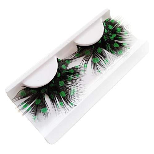 Nikgic Faser Feder 1 Paar Farbige Punkte Falsche Wimpern Make-up-Party Halloween verkleiden sich Wiederholbare Verwendung Künstliche Wimpern Makeup Augen Make-up-Tool(Grün)