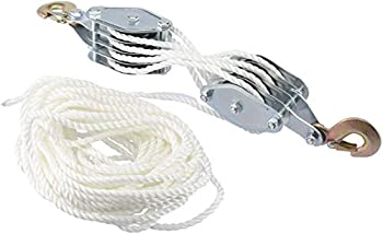Novinex 2 Ton Rope Hoist Pulley Wheel Block and Tackle 4000LB 65 Feet of 3/8  - Poly Rope Hoist Pulley Block - 7 1 Lifting Power
