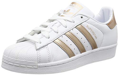 adidas Superstar W, Scarpe da Ginnastica Donna, Bianco Ftwr White/Copper  Met./Core Black, 39 1/3 EU
