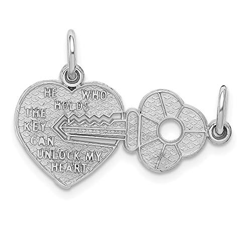 14k White Gold Key Heart Break Apart Pendant Charm Necklace Fine Jewelry For Women Gifts For Her