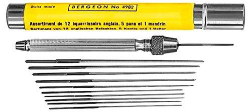 Bergeon 4982 - Juego de escariadores de 12 piezas con 1 soporte y 2 alicates para relojero