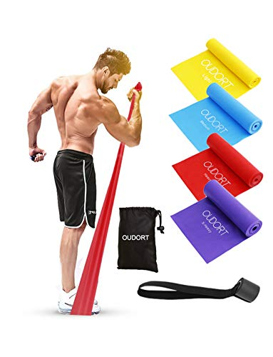 Oudort Resistance Bands Set, 4 Pack Exercise Bands Non-Latex with Door Anchor for Home Workout, Professional Elastic Bands for Upper, and Lower Body and Core Exercise, Physical Therapy, Pilates